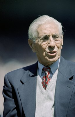 BRONX, NY - APRIL 25:  Former New York Yankee Phil Rizzuto looks on prior to the game between the Toronto Blue Jays and the New York Yankees on Joe DiMaggio Day  at Yankee Stadium on April 25, 1999 in Bronx, New York. The Yankees defeated the Blue Jays 4-