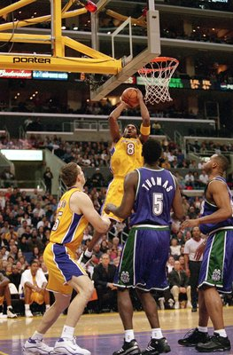 12 Dec 2000:  Kobe Bryant #8 of the Los Angeles Lakers takes a jump shot during the game against the Milwaukee Bucks at the STAPLES Center in Los Angeles, California. The Bucks defeated the Lakers 109-105.  NOTE TO USER: It is expressly understood that th