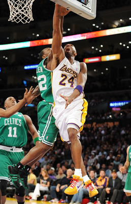 LOS ANGELES, CA - DECEMBER 25:  Kobe Bryant #24 of the Los Angeles Lakers puts a shot up against Tony Allen #42 of the Boston Celtics at Staples Center on December 25, 2008 in Los Angeles, California.  The Lakers defeated the Celtics 92-83.  NOTE TO USER:
