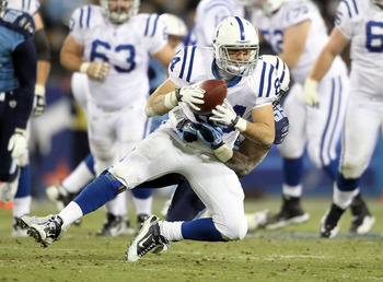 NASHVILLE, TN - DECEMBER 09:  Jacob Tamme #84 of the Indianapolis Colts runs with the ball after a reception while defended by Stephen Tulloch #55  of the Tennessee Titans during the NFL game at LP Field on December 9, 2010 in Nashville, Tennessee.  (Phot