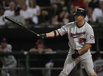 CHICAGO - AUGUST 10: Jim Thome #25 of the Minnesota Twins prepares to bat against the Chicago White Sox at U.S. Cellular Field on August 10, 2010 in Chicago, Illinois. The Twins defeated the White Sox 12-6. (Photo by Jonathan Daniel/Getty Images)