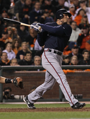SAN FRANCISCO - OCTOBER 08:  Rick Ankiel #28 of the Atlanta Braves hits a solo home run in the tenth inning of the National League Division Series with the San Francisco Giants at AT&T Park on October 8, 2010 in San Francisco, California.  (Photo by Justi