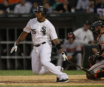 CHICAGO - AUGUST 25: Andruw Jones #25 of the Chicago White Sox hits the ball against the Baltimore Orioles at U.S. Cellular Field on August 25, 2010 in Chicago, Illinois. The Orioles defeated the White Sox 4-2. (Photo by Jonathan Daniel/Getty Images)