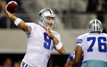 ARLINGTON, TX - SEPTEMBER 20:  Quarterback Tony Romo #9 of the Dallas Cowboys drops back to pass against the New York Giants at Cowboys Stadium on September 20, 2009 in Arlington, Texas.  (Photo by Ronald Martinez/Getty Images)