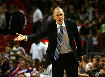 MIAMI - NOVEMBER 26:  Head coach Doug Collins of the Philadelphia 76ers reacts during the game against the Miami Heat at American Airlines Arena on November 26, 2010 in Miami, Florida.  (Photo by Marc Serota/Getty Images)