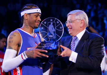 DENVER - FEBRUARY 20:  Allen Iverson #3 of the Eastern Conference All-Stars receives the MVP trophy from NBA Commissioner David Stern after the East defeated the West in the 54th All-Star Game, part of 2005 NBA All-Star Weekend at Pepsi Center on February