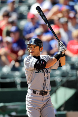 ARLINGTON, TX - SEPTEMBER 29:  Ichiro Suzuki #51 of the Seattle Mariners at Rangers Ballpark in Arlington on September 29, 2010 in Arlington, Texas.  (Photo by Ronald Martinez/Getty Images)