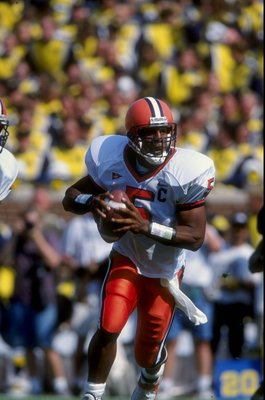 12 Sep 1998:  Quarterback Donovan McNabb #5 of the Syracuse Orangemen in action during a game against the Michigan Wolverines at the Michigan Stadium in Ann Arbor, Michigan. The Orangemen defeated the Wolverines 38-28. Mandatory Credit: Vincent Laforet  /