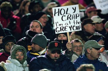26 Nov 2000:  A view of a British Columbia Lions fan holding a funny sign during the Grey Cup 2000 game against the Montreal Alouettes at the McMahon Stadium in Calgary, Alberta, Canada. The Lions defeated the Alouettes 28-26.Mandatory Credit: Craig Klem