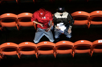 WASHINGTON - APRIL 14:  Fans of the Washington Nationals wait for the home opener to start against the Arizona Diamondbacks on April 14, 2005 at RFK Stadium in Washington, DC.  (Photo by Win McNamee/Getty Images)