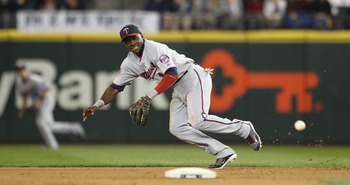 SEATTLE - AUGUST 27:   Second baseman Orlando Hudson #1 of the Minnesota Twins chases a single by Franklin Gutierrez of the Seattle Mariners at Safeco Field on August 27, 2010 in Seattle, Washington. The Twins won 6-3. (Photo by Otto Greule Jr/Getty Image