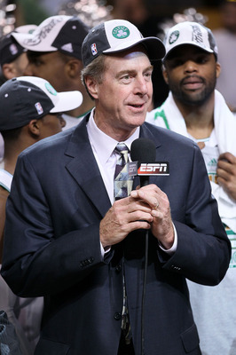 BOSTON - MAY 28:  Celtic's legend Dave Cowens speaks on camera after the Boston Celtics won 96-84 against the Orlando Magic in Game Six of the Eastern Conference Finals during the 2010 NBA Playoffs at TD Garden on May 28, 2010 in Boston, Massachusetts.  N