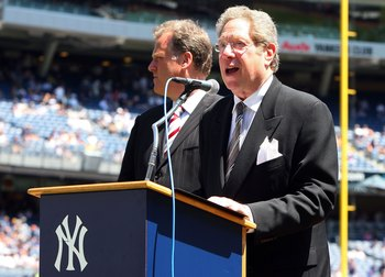 NEW YORK - JULY 19:  New York Yankees radio broadcaster John Sterling speaks during the teams 63rd Old Timers Day before the game against the Detroit Tigers on July 19, 2009 at Yankee Stadium in the Bronx borough of New York City.  (Photo by Jim McIsaac/G