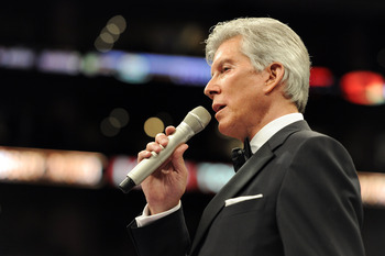 LOS ANGELES, CA - SEPTEMBER 18:  Announcer Michael Buffer before the Middleweight bout against Shane Mosley and Sergio Mora at Staples Center on September 18, 2010 in Los Angeles, California.  (Photo by Harry How/Getty Images)