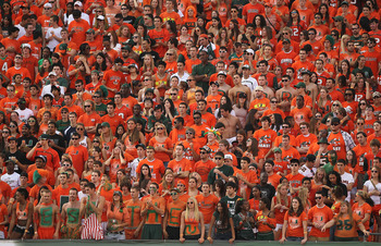 MIAMI - NOVEMBER 20:  The Miami Hurricanes student section cheers during a game against the Virginia Tech Hokies at Sun Life Stadium on November 20, 2010 in Miami, Florida.  (Photo by Mike Ehrmann/Getty Images)