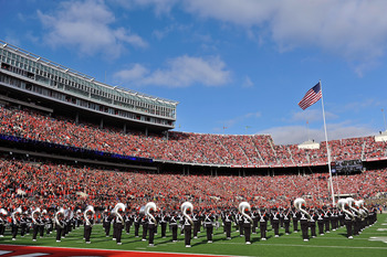 COLUMBUS, OH - NOVEMBER 27:  The Ohio State University Marching Band performs the U.S. National Anthem before a game against the Michigan Wolverines at Ohio Stadium on November 27, 2010 in Columbus, Ohio.  (Photo by Jamie Sabau/Getty Images)