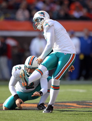 CINCINNATI - OCTOBER 31:  Dan Carpenter #5 of the Miami Dolphins kicks one of his five field goals during the NFL game against the Cincinnati Bengals at Paul Brown Stadium on October 31, 2010 in Cincinnati, Ohio.  (Photo by Andy Lyons/Getty Images)