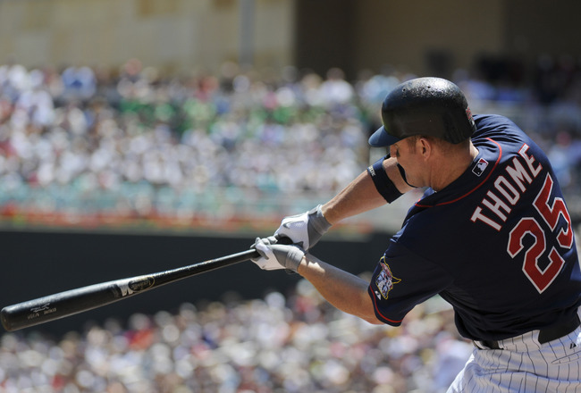 MINNEAPOLIS, MN - JUNE 30: Jim Thome #25 of the Minnesota Twins bats in the second inning against the Detroit Tigers during their game on June 30, 2010 at Target Field in Minneapolis, Minnesota. Twins won 5-1. (Photo by Hannah Foslien /Getty Images)