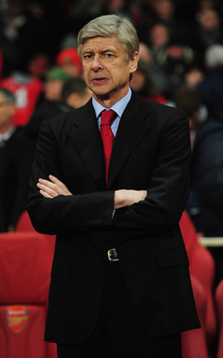 LONDON, ENGLAND - DECEMBER 08:  Arsene Wenger manager of Arsenal looks on prior to the UEFA Champions League Group H match between Arsenal and FK Partizan Belgrade at the Emirates Stadium on December 8, 2010 in London, England.  (Photo by Shaun Botterill/