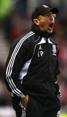 STOKE ON TRENT, ENGLAND - DECEMBER 11:  Tony Pulis, manager of Stoke City shows his frustration, as a chance on goal is missed during the Barclays Premier League match between Stoke City and Blackpool at Britannia Stadium on December 11, 2010 in Stoke on