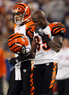 MINNEAPOLIS, MN - DECEMBER 13:  Chad Ochocinco #85 and Carson Palmer #9 of the Cincinnati Bengals look on in the second half against the Minnesota Vikings on December 13, 2009 at Hubert H. Humphrey Metrodome in Minneapolis, Minnesota. The Vikings defeated