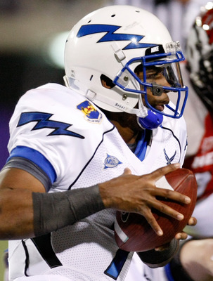 LAS VEGAS - NOVEMBER 18:  Quarterback Tim Jefferson Jr. #7 of the Air Force Falcons runs for yardage against the UNLV Rebels during their game at Sam Boyd Stadium November 18, 2010 in Las Vegas, Nevada. Air Force won 35-20.  (Photo by Ethan Miller/Getty I