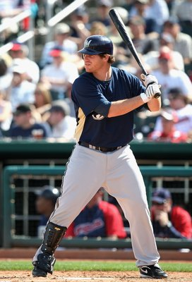 GOODYEAR , AZ - MARCH 06:  Mat Gamel #24 of the Milwaukee Brewers bats against the Cleveland Indians during the spring training game at Goodyear Ballpark on March 6, 2009 in Goodyear, Arizona. The Brewers defeated the Indians 17-7.  (Photo by Christian Pe