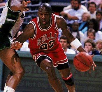 Apr 1985:  Michael Jordan #23 of the Chicago Bulls moves with the ball during the game against the Milwaukee Bucks.   Mandatory Credit: Jonathan Daniel  /Allsport