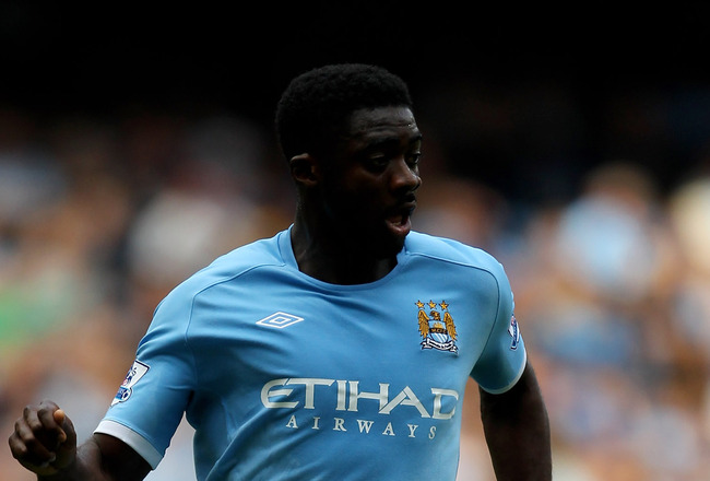 MANCHESTER, ENGLAND - SEPTEMBER 11:  Kolo Toure of Manchester City in action during the Barclays Premier League match between Manchester City and Blackburn Rovers at the City of Manchester Stadium on September 11, 2010 in Manchester, England.  (Photo by A
