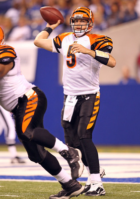 INDIANAPOLIS - SEPTEMBER 02:  Jordan Palmer #5 of the Cincinnati Bengals throws a pass during the NFL preseason game against the Indianapolis Colts at Lucas Oil Stadium on September 2, 2010 in Indianapolis, Indiana.  (Photo by Andy Lyons/Getty Images)
