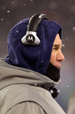 CHICAGO, IL - DECEMBER 12: Head coach Bill Belichick of the New England Patriots looks on from the sidelines at Soldier Field on December 12, 2010 in Chicago, Illinois.  The Patriots beat the Bears 36-7.  (Photo by Dilip Vishwanat/Getty Images)