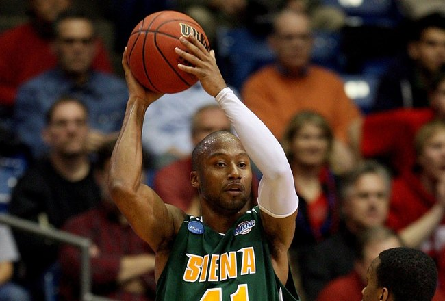 DAYTON, OH - MARCH 20: Kenny Hasbrouck of the Siena Saints handles the ball against William Buford #44 of the Ohio State Buckeyes during the first round of the NCAA Division I Men's Basketball Tournament at the University of Dayton Arena on March 20, 2009