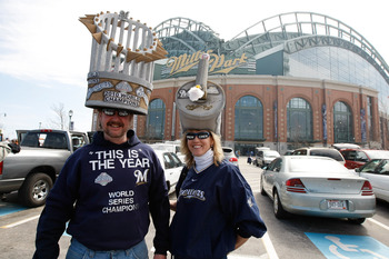 MILWAUKEE, WI - APRIL 05: Brewers fans pose for a picture as they tailgate outside of Miller Park prior to the game between the Colorado Rockies and the Milwaukee Brewers at Miller Park on April 5, 2010 in Milwaukee, Wisconsin. (Photo by Scott Boehm/Getty