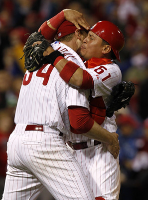 Roy Halladay and Carlos Ruiz, October 6, 2010