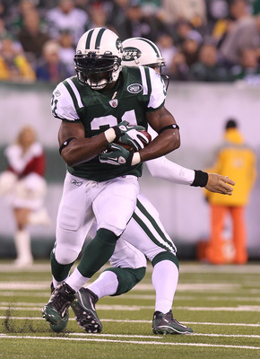 EAST RUTHERFORD, NJ - DECEMBER 12:  LaDainian Tomlinson #21 of the New York Jets against the Miami Dolphins at New Meadowlands Stadium on December 12, 2010 in East Rutherford, New Jersey.  (Photo by Nick Laham/Getty Images)