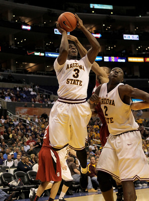 LOS ANGELES - MARCH 11: Ty Abbott #3 of the Arizona State Sun Devils shoots against the Stanford Cardinal during the quarterfinals of the Pac-10 Basketball Tournament at Staples Center on March 11, 2010 in Los Angeles, California.  Stanford won 70-61.  (P