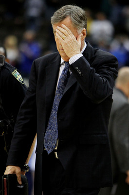 JACKSONVILLE, FL - MARCH 21:  Head coach Mike Montgomery of the California Golden Bears reacts reacts after losing to the Duke Blue Devils during the second round of the 2010 NCAA men's basketball tournament at Jacksonville Veteran's Memorial Arena on Mar