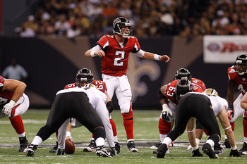 NEW ORLEANS - SEPTEMBER 26:  Matt Ryan #2 of the Atlanta Falcons in action against the New Orleans Saints at the Louisiana Superdome on September 26, 2010 in New Orleans, Louisiana.  The Falcons defeated the Saints 27-24.  (Photo by Chris Graythen/Getty I