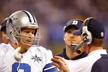INDIANAPOLIS, IN - DECEMBER 05: Jon Kitna #3 of the Dallas Cowboys talks with Jason Garrett during a game against the Indianapolis Colts at Lucas Oil Stadium on December 5, 2010 in Indianapolis, Indiana.  (Photo by Scott Boehm/Getty Images)