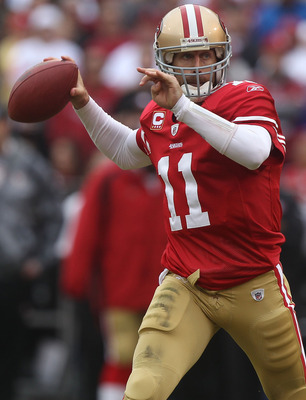 SAN FRANCISCO - DECEMBER 12:    Alex Smith #11 of the San Francisco 49ers passes against the Seattle Seahawks during an NFL game at Candlestick Park on December 12, 2010 in San Francisco, California.  (Photo by Jed Jacobsohn/Getty Images)