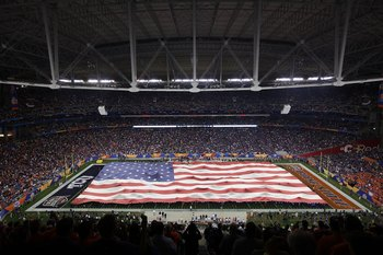 GLENDALE, AZ - JANUARY 04:  A general view of the American flag on the field during the national anthem before the Tostitos Fiesta Bowl between the Boise State Broncos and the TCU Horned Frogs at the Universtity of Phoenix Stadium on January 4, 2010 in Gl