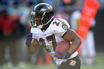 CHARLOTTE, NC - NOVEMBER 21:  Ray Rice #27 of the Baltimore Ravens against the Carolina Panthers at Bank of America Stadium on November 21, 2010 in Charlotte, North Carolina.  (Photo by Streeter Lecka/Getty Images)