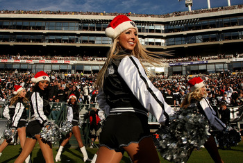 OAKLAND, CA - DECEMBER 16: The Raiderettes perform during the game between the Indianapolis Colts and the Oakland Raiders at McAfee Coliseum December 16, 2007 in Oakland, California. The Colts won 21-14.  (Photo by Stephen Dunn/Getty Images)