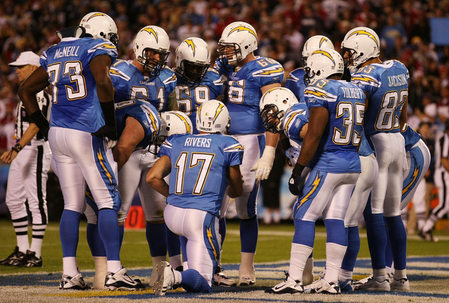 SAN DIEGO, CA - DECEMBER 16:  Quarterback Philip Rivers #17 of the San Diego Chargers speaks to his teammates in the huddle during their game against the San Francisco 49ers at Qualcomm Stadium on December 16, 2010 in San Diego, California.  (Photo by Don