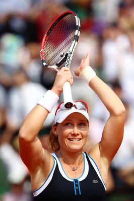 PARIS - JUNE 02:  Samantha Stosur of Australia celebrates match point during the women's singles quarter final match between Serena Williams of the United States and Samantha Stosur of Australia on day eleven of the French Open at Roland Garros on June 2,