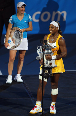 MELBOURNE, AUSTRALIA - JANUARY 30:  Serena Williams of the United States of America addresses the crowd after winning her women's final match against Justine Henin of Belgium during day thirteen of the 2010 Australian Open at Melbourne Park on January 30,