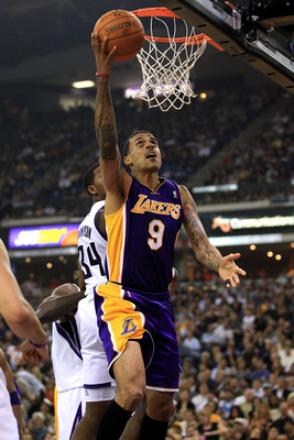 SACRAMENTO, CA - NOVEMBER 03:  Matt Barnes #9 of the Los Angeles Lakers goes up for a shot against the Sacramento Kings at ARCO Arena on November 3, 2010 in Sacramento, California.  NOTE TO USER: User expressly acknowledges and agrees that, by downloading