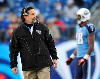 NASHVILLE, TN - DECEMBER 19:  Coach Jeff Fisher of the Tennessee Titans calls instructions to his team against the Houston Texans at LP Field on December 19, 2010 in Nashville, Tennessee. The Titans defeated the Texans, 31-17.  (Photo by Grant Halverson/G