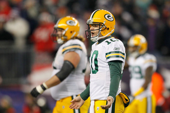 FOXBORO, MA - DECEMBER 19:  Quarterback Matt Flynn #10 of the Green Bay Packers reacts during the fourth quarter of the game against the New England Patriots at Gillette Stadium on December 19, 2010 in Foxboro, Massachusetts. The Patriots won the game 31-
