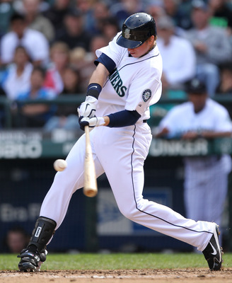 SEATTLE - SEPTEMBER 19:  Justin Smoak #17 of the Seattle Mariners bats against the Texas Rangers at Safeco Field on September 19, 2010 in Seattle, Washington. (Photo by Otto Greule Jr/Getty Images)